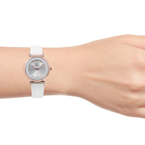 STRADA Japanese Movement Water Resistant Watch with White Colour Strap