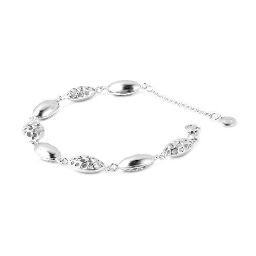 Pebble Collection - RACHEL GALLEY Rhodium Overlay Sterling Silver Pebble Lattice Bracelet (Size 6.5 - 8), Silver wt 10.25 Gms.
