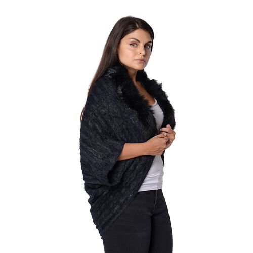 Ultra Soft Winter Kimono with Faux Fur Collar (Size 85x45 Cm)- Black