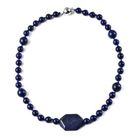 Lapis Lazuli Bead Necklace (Size 18) with Magnetic Clasp 263.00 Ct.