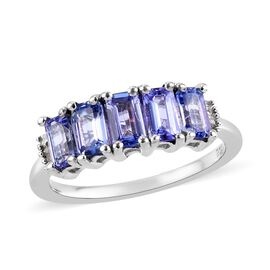Tanzanite (Oct 5x3 mm), Diamond Ring in Platinum Overlay Sterling Silver 1.50 Ct.