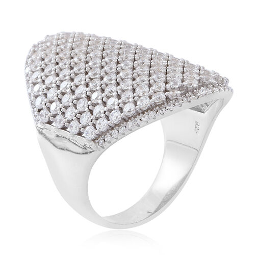 Limited Edition- ELANZA Simulated White Diamond (Rnd) Cluster Ring in Rhodium Plated Sterling Silver, Silver wt 10.59 Gms. Number of Simulated Diamonds 204