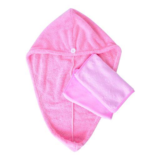 Set of 3 - Turbie Twist Hair Towel with Makeup Eraser - Pink