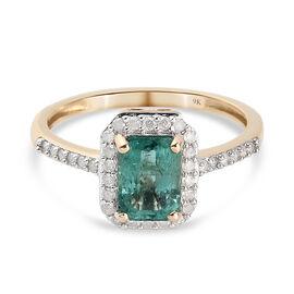 9K Yellow Gold Kagem Zambian Emerald and Diamond Ring 1.20 Ct.