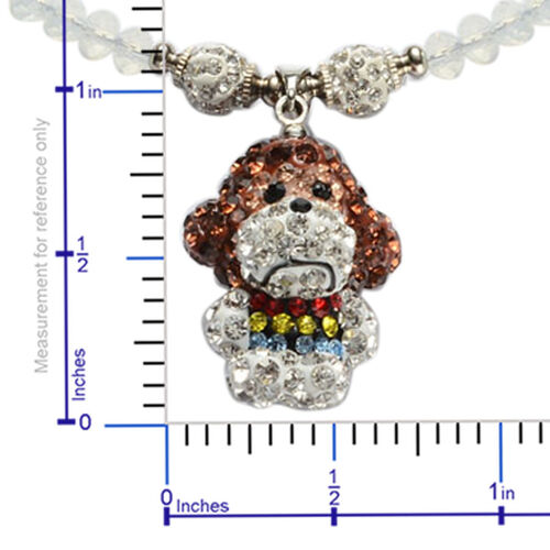Creature Couture - Monkey Necklace (Size 20) with Multi Colour Austrian Crystal and Opalite in Silver Tone