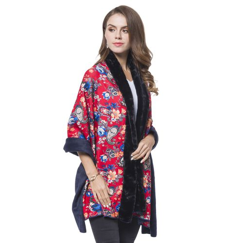 Black, Red and Multi Colour Paisley and Floral Pattern Reversible Shawl with Faux Fur at Back (Size 180X80 Cm)