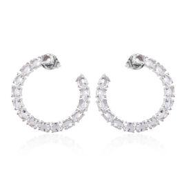4.34 Ct Petalite Hoop Earrings in Platinum Plated Sterling Silver 5.8 Grams