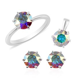 3 Piece Set - J Francis Crystal from Swarovski AB Crystal Stud Earrings (with Push Back), Solitaire Pendant and Ring in Sterling Silver