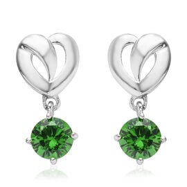 ELANZA Simulated Diopside (Rnd) Earrings in Platinum Overlay Sterling Silver