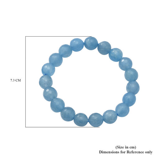 Blue Chalcedony Quartz Beaded Stretchable Bracelet (Size 7.5) in Sterling Silver 100.00 Ct