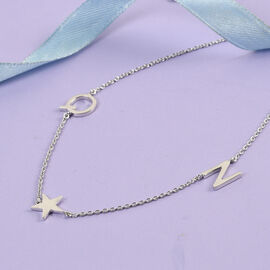 Personalise Two Alphabet + Star, Name Necklace in Silver, Size 18+2 Inch