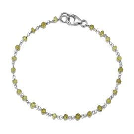 Hebei Peridot (Rnd) Bracelet (Size 7.5) in Rhodium Overlay Sterling Silver 3.150 Ct.