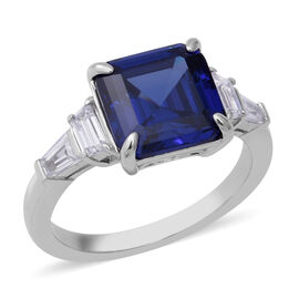 Signature Collection-Asscher Cut Cubic Zirconia Tanzanite (8.00 Ct) and Cubic Zirconia in Sterling S