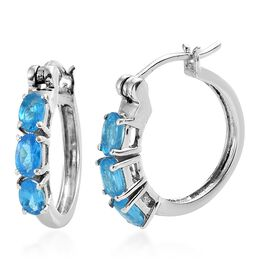 AA Malgache Neon Apatite (Ovl) Hoop Earrings (with Clasp Lock) in Platinum Overlay Sterling Silver 1.500 Ct.