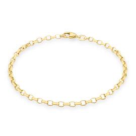 9K Yellow Gold Oval Belcher Bracelet (Size 7.5)