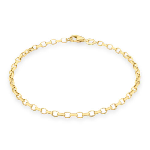 9K Yellow Gold Oval Belcher Bracelet (Size 7.5)
