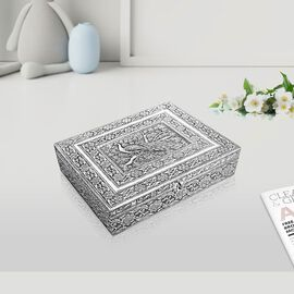 3D Embossed Collection Handcrafted Peacock Oxidised Jewellery Box (Size 19x14 Cm) with Mirror and Ve