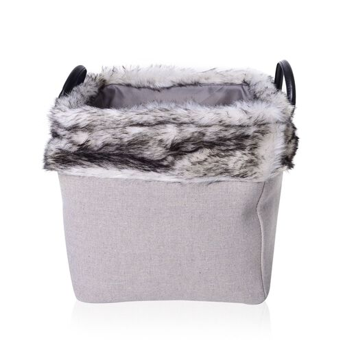 Set of 2 - 70% Cotton Light Grey Colour Multi Purpose Faux Fur Basket with Faux Leather Handles (Size Small 26X26X26 Cm and Large 31X31X31 Cm)