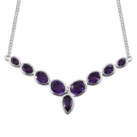Lusaka Amethyst (Pear) Necklace (Size 18) in Platinum Overlay Sterling Silver 5.500 Ct, Silver wt 10.27 Gms.