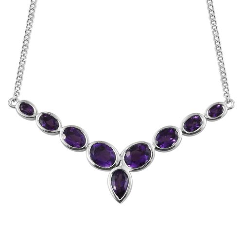 Lusaka Amethyst (Pear) Necklace (Size 18) in Platinum Overlay Sterling Silver 5.500 Ct, Silver wt 10