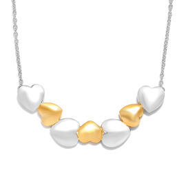 Platinum and Yellow Gold Overlay Sterling Silver Heart Necklace with Chain (Size 18), Silver wt 8.71