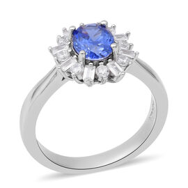 ELANZA AAA Simulated Tanzanite and Simulated Diamond Halo Ring in Rhodium Overlay Sterling Silver