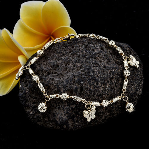 Royal Bali Collection 9K Yellow Gold Bracelet with Butterfly and Bead Charm (Size 8), Gold wt 4.90 Gms.