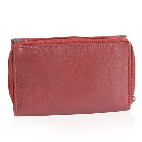 100% Genuine Leather RFID Blocker Burgundy and Navy Colour Ladies Wallet (Size 16X11X1 Cm)