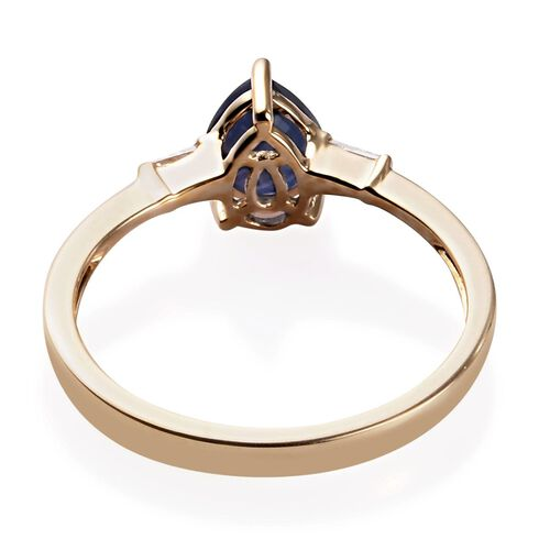 9K Yellow Gold Burmese Blue Sapphire and Diamond Ring 1.25 Ct.
