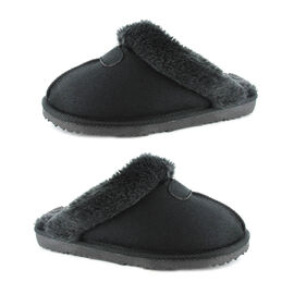 Ella Jill Supersoft Faux Fur Mule Slipper in Black Colour