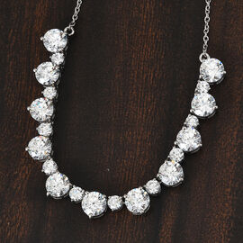 J Francis Platinum Overlay Sterling Silver Cluster Necklace (Size 18) Made with SWAROVSKI ZIRCONIA 26.49 Ct, Silver wt. 8.60 Gms