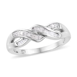 Diamond (Rnd and Bgt) Wave Design Crisscross Ring in Platinum Overlay Sterling Silver 0.150  Ct.
