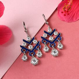 J Francis Platinum Overlay Sterling Silver Lever Back Enamelled Earrings Made with SWAROVSKI ZIRCONIA 5.19 Ct.