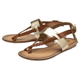 RAVEL Tan & Gold Croc-Print Luna Flat Sandals