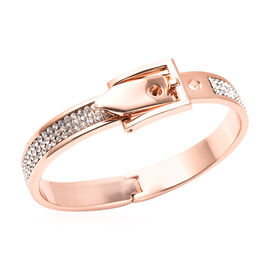 White Austrian Crystal Belt Buckle Hinged Bangle (Size 6.5) in Rose Gold Tone
