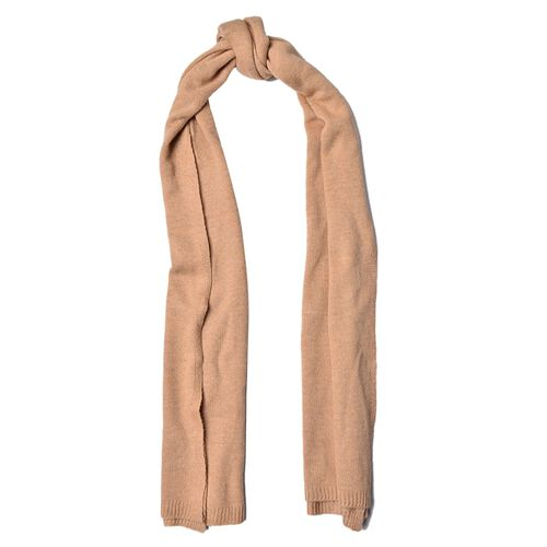 Italian Designer Inspired Merino Wool Blend (50% Merino Wool) Brown Colour Scarf (Size 200x55 Cm)