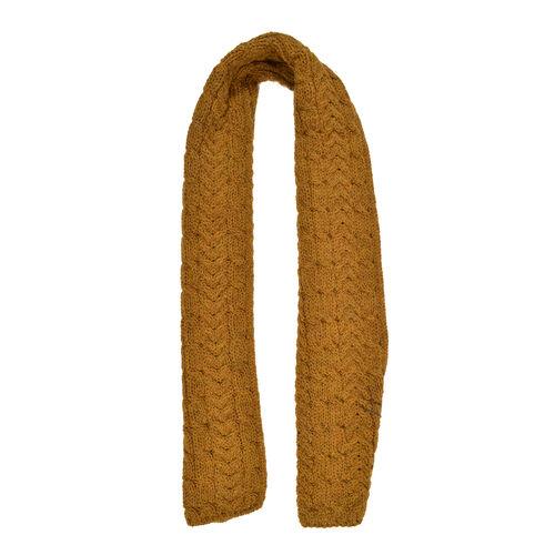 Aran 100% Pure New Wool Irish Scarf in Mustard Colour (One Size 150 x 20 cm)