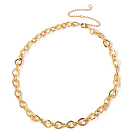 RACHEL GALLEY Yellow Gold Overlay Sterling Silver Love Link Necklace (Size 16 with 4 inch Extender),