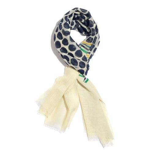 100% Merino Wool Black, Off White and Multi Colour Polka Dots Printed Scarf (Size 180x70 Cm)