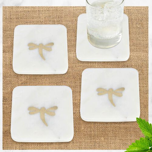 NAKKASHI - Set of 4 - Square Marble Coasters with Brass Inlay (Size 10x10cm)