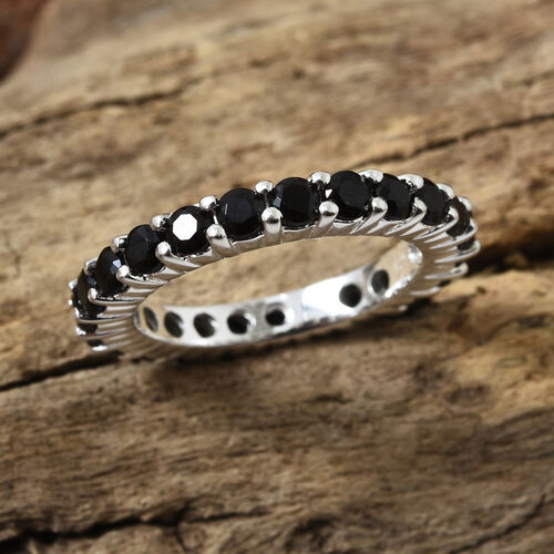 Epic Friday- Epic Deal- Boi Ploi Black Spinel (Rnd) Full Eternity Band Ring in Sterling Silver 2.500  Ct. Number of Gemstone 24
