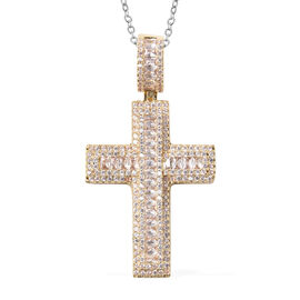 Simulated Diamond Cross Pendant with Chain (Size 20 with 2 inch Extender) in Gold Tone