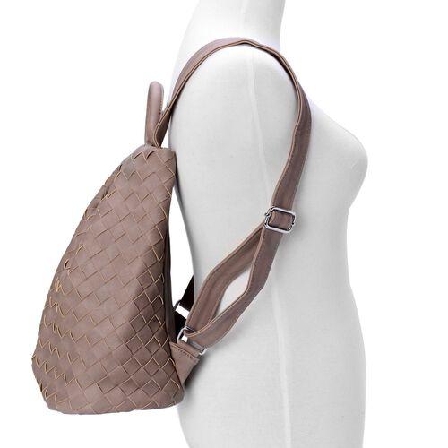 Olympia Dark Beige Weave Pattern Back Pack with  Adjustable Shoulder Strap (Size 34.5x27x17 Cm)