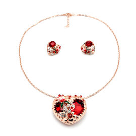 2 Piece Set -  Simulated Red Sapphire, Red and White Austrian Crystal Necklace (Size 20 with 1 inch