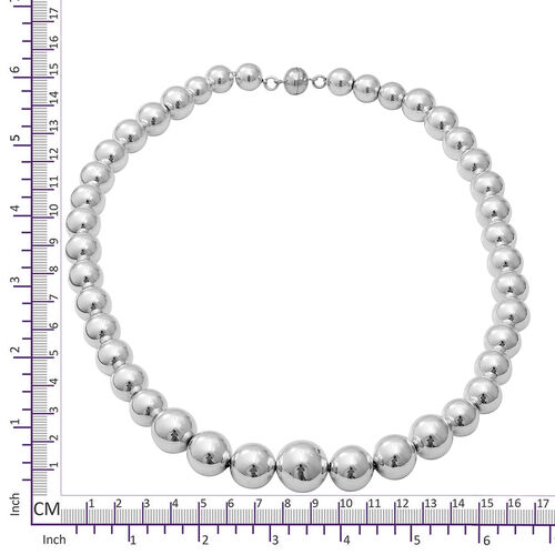 Designer Inspired- Sterling Silver Bead Necklace (Size 20.5), Silver wt 57.90 Gms with Magnetic Lock