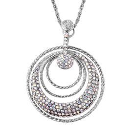 Simulated Mystic White Crystal Multi Circle Pendant with Chain in Silver Tone