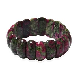 282.50 Ct Ruby Zoisite Stretchable Beaded Bracelet 7.25 Inch