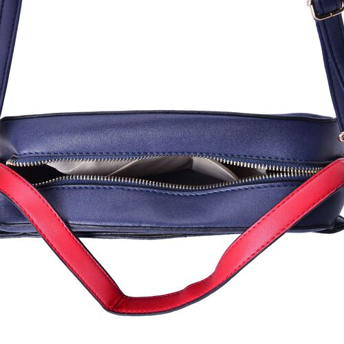 Navy, Grey and Red Colour Crossbody Bag with Adjustable and Removable Shoulder Strap (Size 25x17x7.5 Cm)