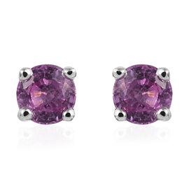 Pink Sapphire (Rnd) Stud Earrings (with Push Back) in Platinum Overlay Sterling Silver 0.500 Ct.