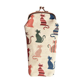 SIGNARE - Tapestry Cheeky Cat Glasses Pouch ( 11x20xx1cm)